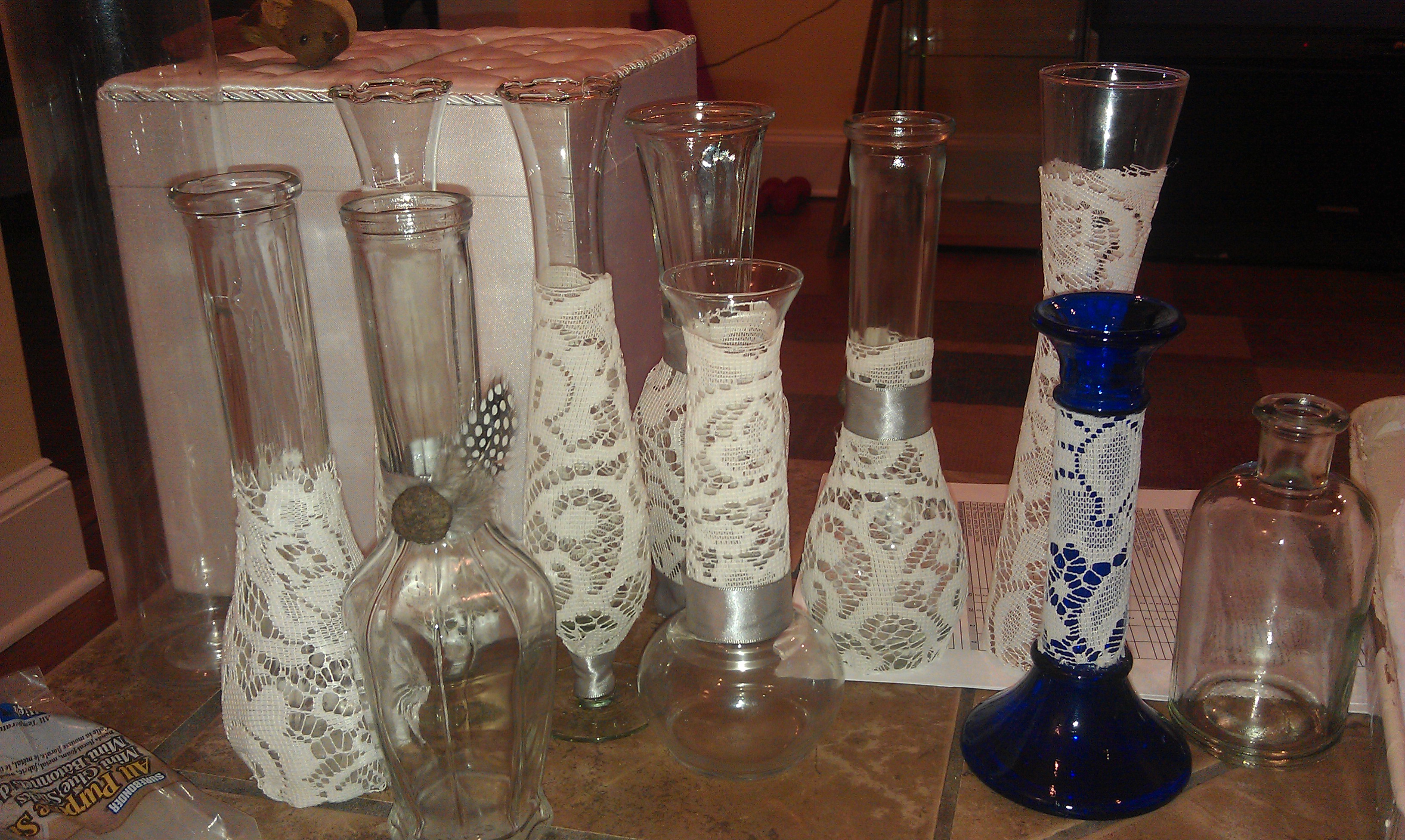 Vintage lace and burlap vase centerpieces from politics